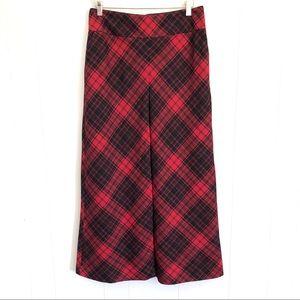 Talbots black and red tartan plaid wool midi skirt
